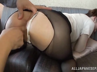The horny studs rip her sexy nylon pantyhose to get to her luscious pussy.