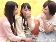 Naughty Japanese teen lesbian Tomoda Ayaka and two girlfriends of hers have fun, stripping and stimulating their horny young pussies.