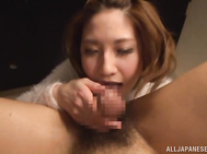 Asian milf, Risa Mizuki, is pretty horny and really needs this tasty penis up her pussy and ass but before getting to fuck like a dirty bimbo, she decides to dazzle the guy with amazing blowjob, sucking his cock in POV manners and then letting it slide in
