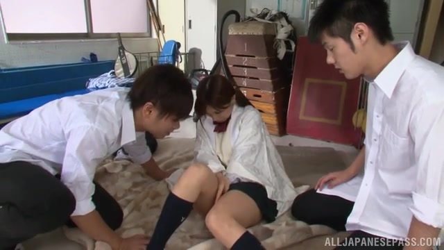 Tsukasa Aoi, and Minami Kojima Asian schoolgirls in hot group sex.