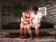 Warm oral from Asian beauty Shinoda Ayumi in red lingerie.