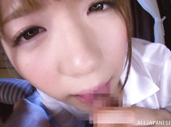 Luscious Japanese office sweetie Yui Nishikawa gives massage to one of her horny male colleagues.