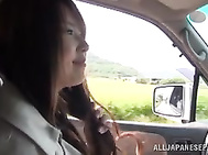 Sex appeal milf Yui Hatano makes a solo play outdoors.