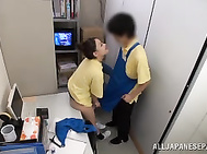 They think only about sex, and when they see a handsome guy, they sometimes bring him to an empty room and give them a blowjob or ride his cock, and they never know that they are all the time watched by a horny voyeur.