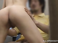 The couple have sex, thinking that no one sees them, and the horny girl rides her lover´s cock passionately and wildly, without knowing that they are watched by horny voyeurs.
