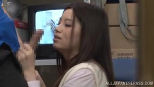 The guy brings her to an empty office and takes cock out of his pants, and the young wild vixen engulfs his boner and sucks it with passion, and then rides her boyfriend´s cock really hard.