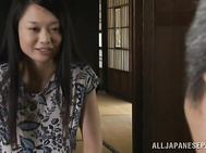 Alluring Japanese wife enjoys hot sex with her mature hubby.