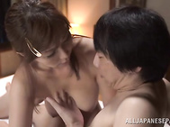 Amazing mature lady Chisato Shohda rides cock gets creamed.