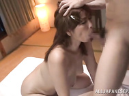 Lustful Asian mature lady Chisato Shohda wants to have sex with her new young boyfriend.