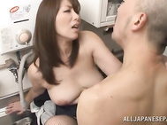 The sexy mature chick kisses hot body of her stud and stimulates his dick orally, and the excited guy bends her over and rams her naughty pussy with his cock, getting driven into the perfect Asian porn scene.