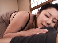 Ayane Asakura is kissing her boyfriend and showing him her sexy lingerie.