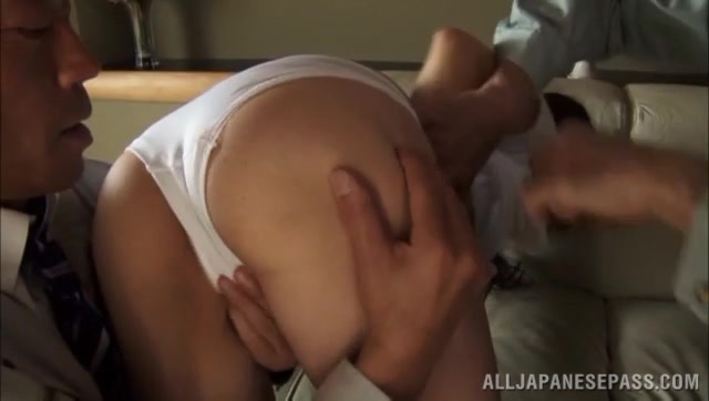 This mature JP sex model, Ayumi Shinoda puts on quite a show when she is tempted into a hardcore threesome! She gets her lovely tits fucked, and she gives amazing blowjobs before she is fisted while screaming in pleasure and pain.