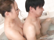 Beautiful Japanese mature chick Mako Oda gets her head and tits fucked.