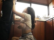 With a pair of huge tits on this housewife, who cares how old Waka Takatsuki is? She can still get the job done, as he rubs her erect nipples and sucks on them in the kitchen.