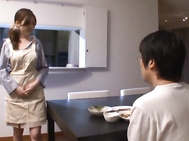 Busty housemaid Rio Hamasaki doggy styled in surprise sex.