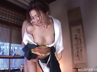 She gets teased with a big toy, and then gets her mouth filled with cock of the guy, and gives him a masterful sucking, and licks his balls as well.