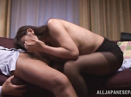 She looks really nice in her sexy black pantyhose, and the guy gets hot immediately.