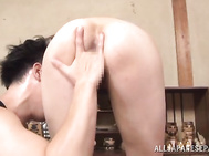 The experienced lady gives the guy a great cock sucking and enjoys hardcore rear banging, getting cum on tits.