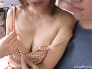 Elegant mature housewife Ai Komori gets pounded in a kitchen.