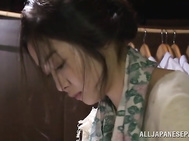 Erotic Japanese lady in kimono is a fan of hardcore banging action.