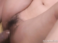 She rides his cock hard and gets cum on her luxurious body like in the Asian porn shows!.