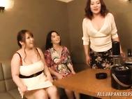 Gang of mature Japanese women having hardcore fun with a guy.
