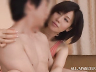 She takes his dick out of his pants and starts to stimulate it with her naughty fingers and arranges arousing cock riding.