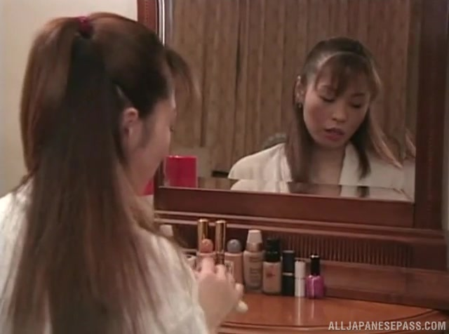 Hot Japanese mature woman seduces a young handsome guy.