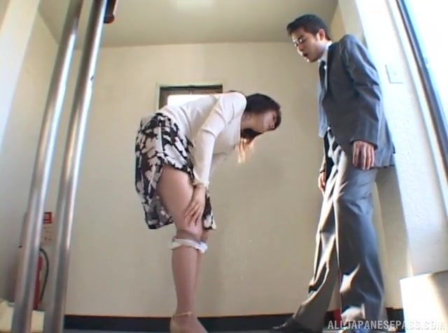 Housewife gets fucked from behind by horny younger guy.