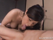 Big tits Japanese wife, Kaori Sakuragi, looks dashing with such tasty dong between her boobs while stroking it and getting it ready to slide her throat.