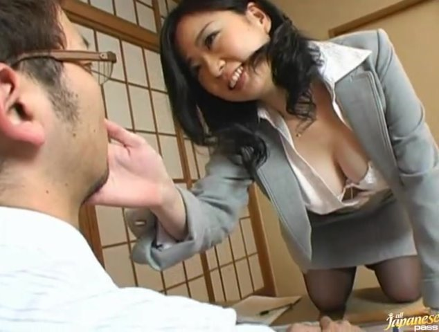 Japanese wife is a mature busty babe.