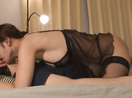 This mature chick Kaede Niiyama hot looks so damn fine in her sexy lingerie, especially those black stockings that are fucking amazing looking.