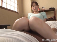 Elegant Japanese amateur Sayuki Kanno arranges some cock stimulation action, using her feet.