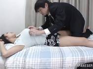 Lovely Asian office woman Reiko Kobayakawa shows her holes and rides rod.