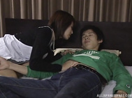 Japanese mature wife with pretty sexy form starts sucking cock in pretty sloppy manners, being very horny and aroused as well as looking for sex.