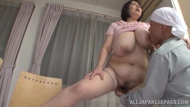 Amazing Japanese lady Misuzu Tomizawa with huge tits is in for a harsh fuck with a younger dude who loves cracking her fat pussy in doggy style and making those melons to shake while mature hottie screams of high pleasure.