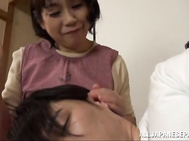 Mature babe Rie Takahashi gives a young stud a sensual blowjob.