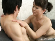 Mature Chieko Oomura enjoys younger stud.