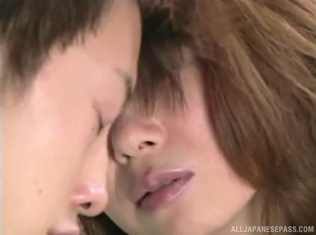 Sweet Japanese mature with petite body and small tits begins feeling horny around this young guy, craving for his cock in her tight vagina.