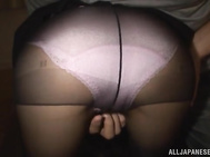 Mature Japanese chick in sexy pantyhose Ai Komori gets doggy-style fuck.