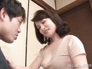 Sex appeal Japanese mature diva Yuuri Saejima seduces handsome dude and teases his hard cock.
