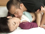 This guy is pretty hands-on with Ruri Hayami, as he feels her up from her face to her tits, and then all the way down to her warm pussy.