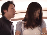 Hot mature housewife Chihiro Uehara has a nice ass and her partner seems to like it a lot.