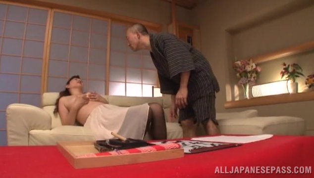 Superb Japanese wife, Reiko Shimura, is in for a lot of naughty things and tonight, horny hunk will blow her brains out in a harsh fuck on the couch.