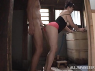 Lascivious Japanese mature chick Koitoka wants to have sex with young handsome dude.