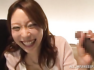 Beautiful Japanese mature redhead gets seduced by horny ebony dude with a really big cock.