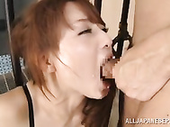 Dressed in sexy lingerie and having her hands tied up in a sexy bondage scene, naughty Japanese angel Akiho Yoshizawa, enjoys a tasty dong deep in her warm mouth during most appealing cock suckign scene.