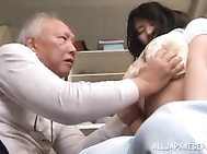 Caring Hana Haruna sucks an old stud huge pole.