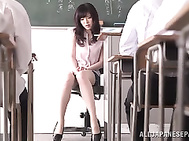 Sexy Japanese teacher Sara Yurika gets fingered and enjoys cock in mouth.