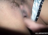 Amazing japanese hottie Nana Aoyama gets pounded with a huge dildo and waken up to suck and fuck with a real dick in massive hardcore action wich makes her enjoy intense pleasure and a hard real cock wich is eager to drill inside that tight and wet little